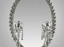 آینه و شمعدان نقره کریستال